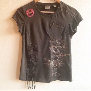 Ted Baker Jean Embellished Shirt Patch Zipper